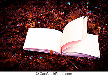 diary on the grass - diary and notebook on grass with...