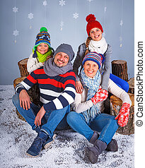Winter Fashion. Happy family.