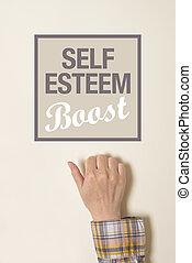 Hand is knocking on Self-esteem boost door - Female hand is...