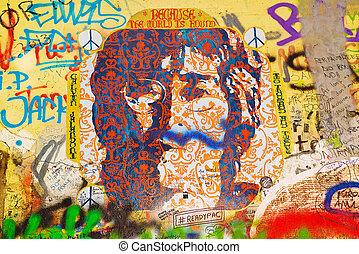 John Lennon Graffiti Wall on Kampa Island in Prague -...