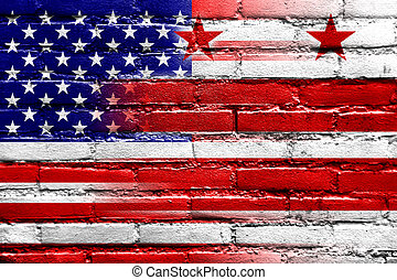 USA and Washington DC Flag painted on brick wall