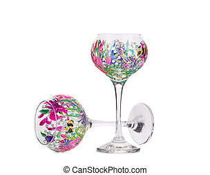 Two handmade beautiful wine glasses. Isolated on a white...