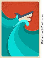 haj, blå, hav, vektor, affisch, bakgrund