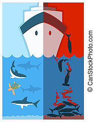Stop shark finning.Vector color illustration with poaching...