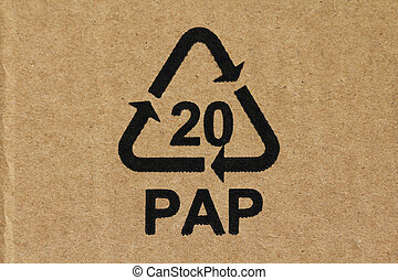 Recycling code 20 PAP used for cardboard material