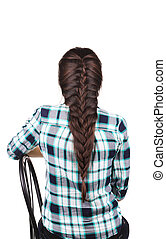 Long Brown Hair Braid Back View Isolated on a white...