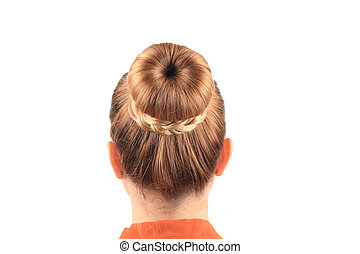 Beautiful woman with creative elegant hair bun Isolated on a...