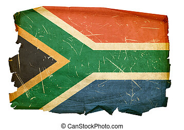 South Africa Flag old, isolated on white background