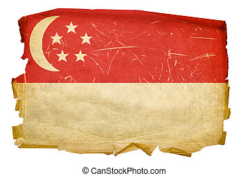 Singapore Flag old, isolated on white background