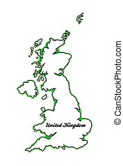 United Kingdom - Outline map of the United Kingdom of...