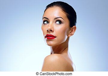 Portrait of a young charming woman. Spa concept.