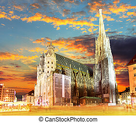 Vienna Stephansdom, Austria - Vienna Stephansdom at colorful...