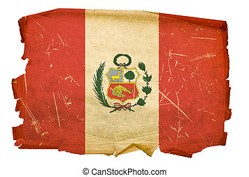 Peru Flag old, isolated on white background.