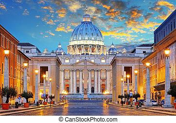 St. Peter's Basilica in Rome by the Via della Conciliazione,...