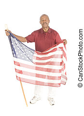 Black Senior citizen with flag