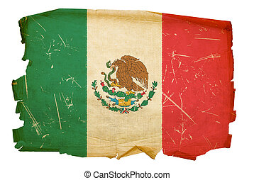 Mexico Flag old, isolated on white background.