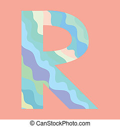 The letter R. Element of alphabet made from abstract wave