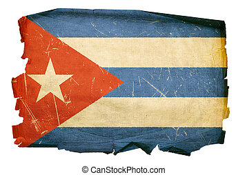 Cuba Flag old, isolated on white background.