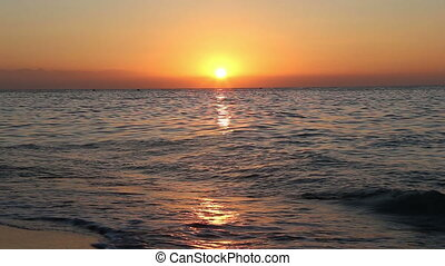 Beautiful sunrise on the beach Costa del SolCoast of the...