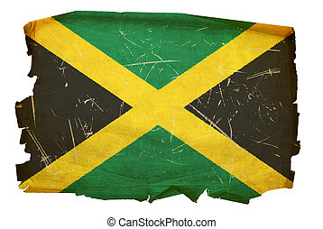 Jamaica Flag old, isolated on white background.