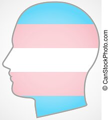 head with a transgender pride flag - Isolated head with a...