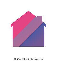 house with a bisexual pride flag - Isolated house with a...