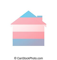 house with a transgender pride flag - Isolated house with a...