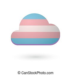 cloud with a transgender pride flag - Isolated cloud with a...