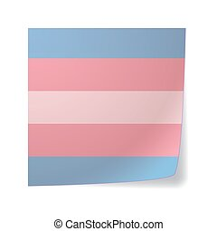 sticky note with a transgender pride flag - Isolated sticky...