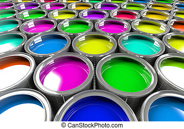 Multiple open paint cans. Rainbow colors. Creativity and...