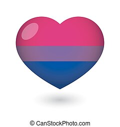 heart with a bisexual pride flag - Isolated heart with a...