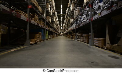 Large warehouse interior in motion angle footage