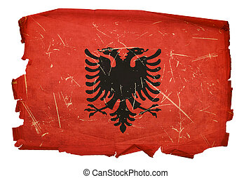 Albania Flag old, isolated on white background.
