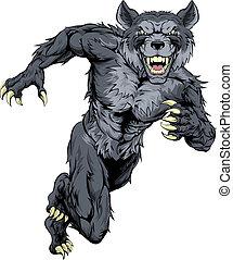 Running wolf mascot