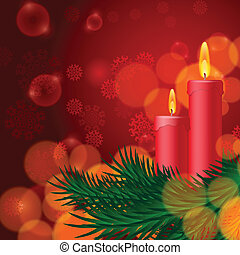 Christmas background with candles and fir tree EPS10 vector...