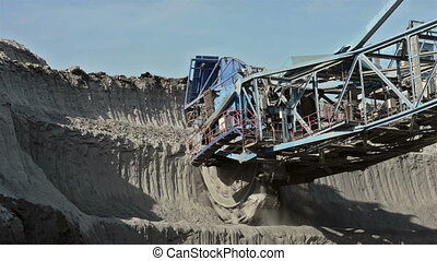 Mining with Excavator - Landscape with excavator on sunny...