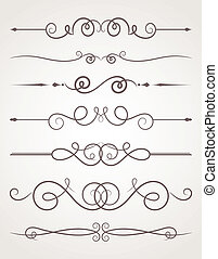 Calligraphic decorative elements. Set of design elements.