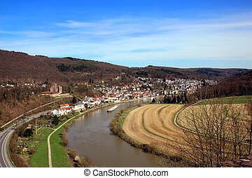 Neckar River - Neckarsteinach on river Neckar in southern...