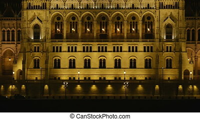 Parliament, Budapest, Hungary at night closeup