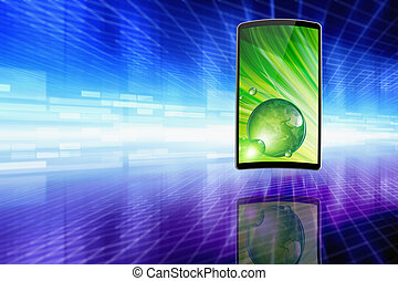 Flexible smartphone - Abstract technology background -...