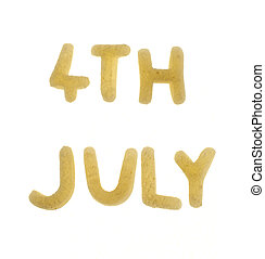 4th july - text \'4th july\' made of food letters, isolated...