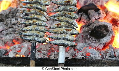 Cooking fish grilled