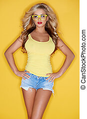 Pretty Young Woman in Summer Fashion Outfit - Pretty Blond...