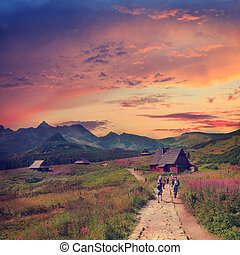 Gasienicowa Valley in Tatra Mountains, vintage look