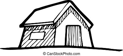 Detached house - Hand-drawn vector drawing of a Detached...
