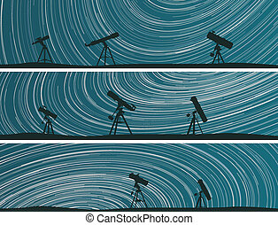 Stars trace circles on night sky. - Set horizontal abstract...