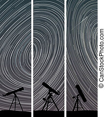 Night sky with telescopes. - Set vertical abstract banners...