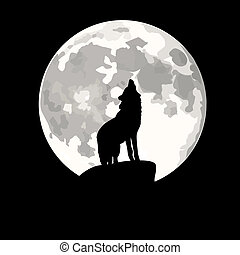 Wolf howling at moon.