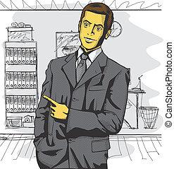vector, empresa / negocio, hombre, exposición, Algo,...