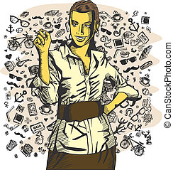 Vector Business Woman Writing Something - Idea concept...